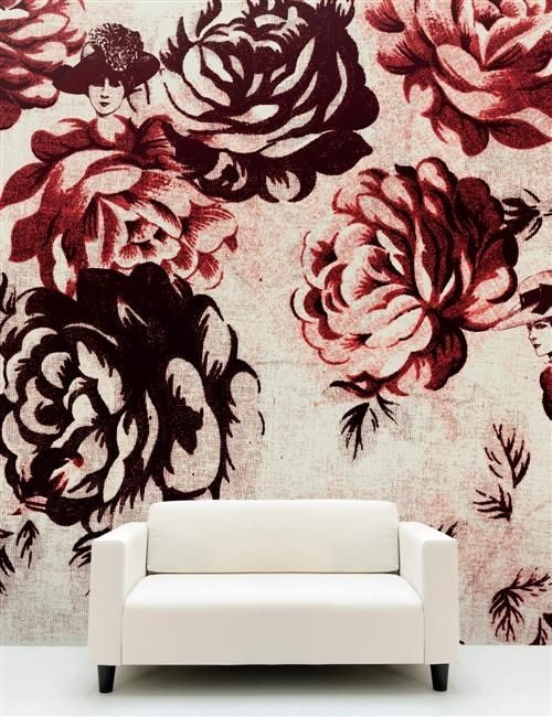 Pantone Marsala Flower Design Wallpaper by Connection Inc. Kansas City Interior Design